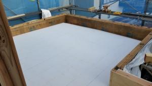 バルコニー防水下地のケイカル板施工完了