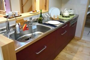 自然素材の家 対面キッチン 埼玉県狭山市