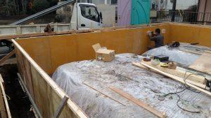 所沢市緑町で天然木の家注文住宅基礎工事施工中